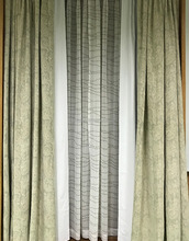 Chenille jacquard curtain for living room with blackout lined in grey color