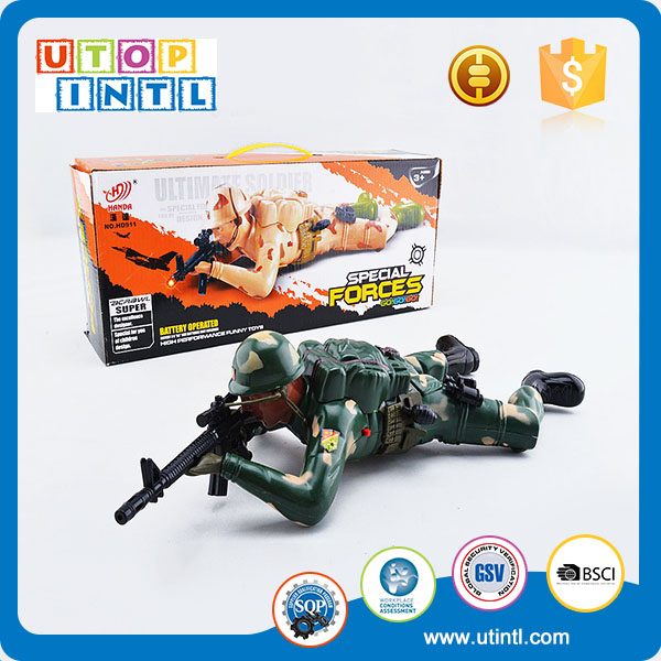 Customized yellow or green battery operated toy soldier with sound and light