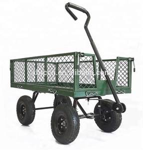 Handle pull garden cart heavy duty steel mesh tool cart