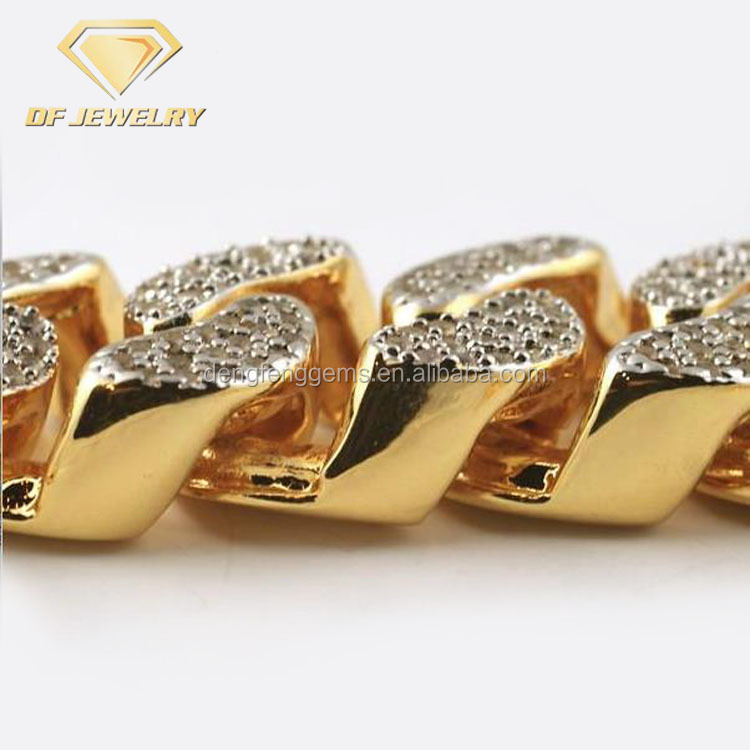 22mm Gold Plated Hip Hop Jewelry MIAMI Cuban Men Bracelet