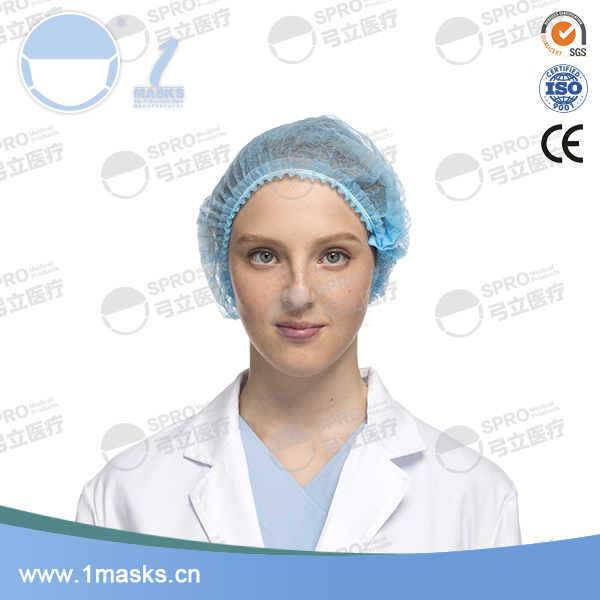 Hospital elastic non-woven disposable printed bouffant cap