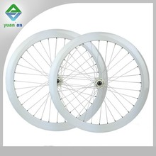 Cycling dropship carbon track wheel 50mm white carbon fixed gear wheels with Novatec hub
