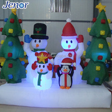 Christmas Holiday Decoration Light Inflatable Snowman Family with Xmas Tree