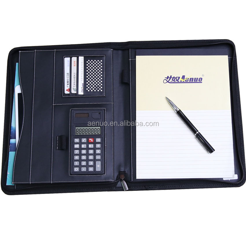 Promotion office stationery PU fabric file portfolio zipper conference holder with calculator
