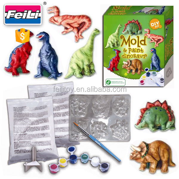 hot educational toys mold&paint dinosaur diy plaster painting toys set
