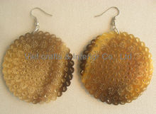 Buffalo horn earring, horn earring set, honey horn color
