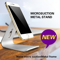 Aluminum Nano Micro-Suction Stand For iPad iPhone Cellphone tablet PC Holder Cradle Metal Mobile Phone Desktop Stand