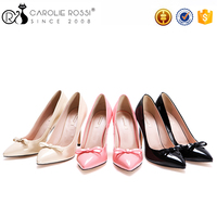 lady rose women shoes Bow decoration office pink shiny pu high heels ladies chappal shose women