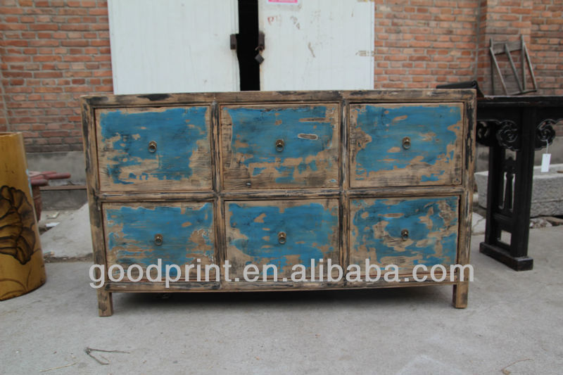Chinese antique six drawer blue distressted furniture for Oriental reproduction furniture