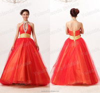 Hot Selling 2014 Halter Sleeveless Tulle Aline Fashion Lastest Red Wedding Dress Real Picture
