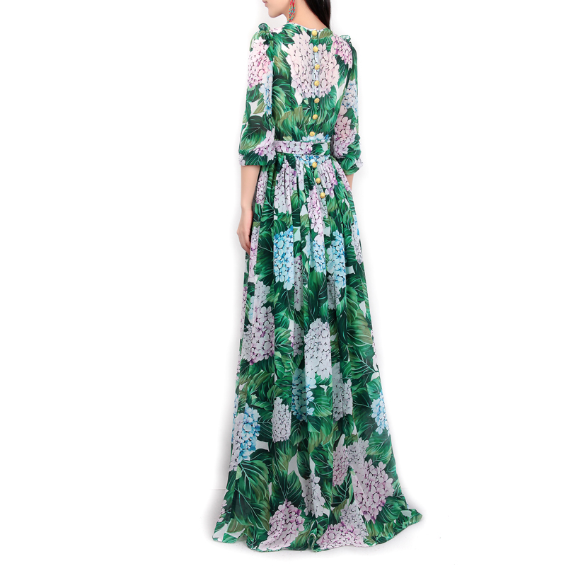High-quality-new-spring-summer-2017-women-runway-maxi-dress-flowers-green-leaves-printing-Beach-Casual (4)