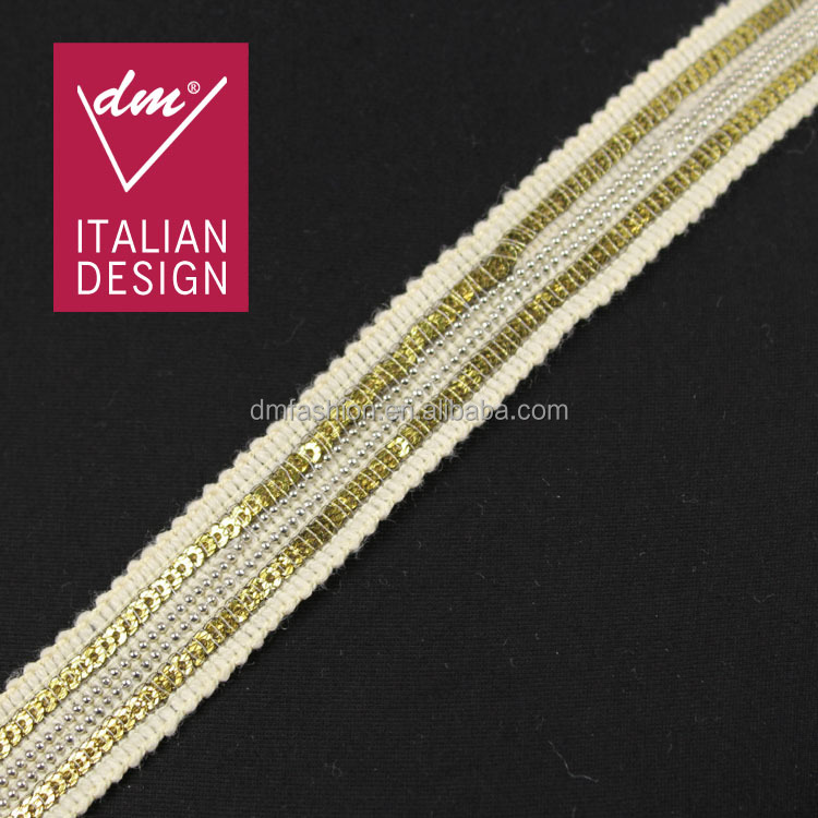 Good quality 2cm embroidered gold sequin and silver beads chain sequence lace for garment