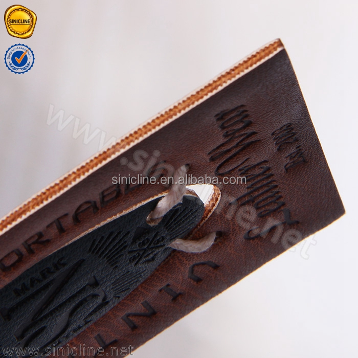 Sinicline mens fashion custom printed logo PU leather hangtag