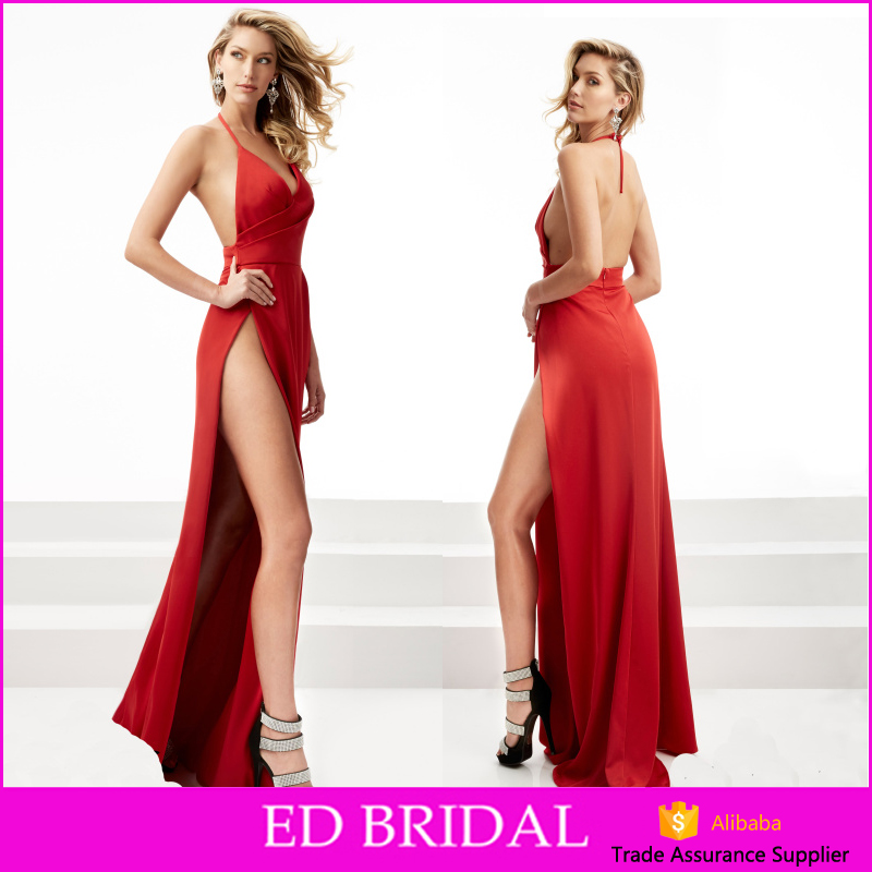 Hot Sexy Halter Backless High Split Side Red Long Party Dress