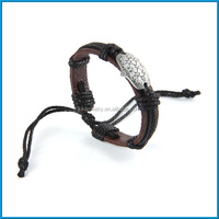 Latest design turtle shell metal charm brown magnetic leather bracelet