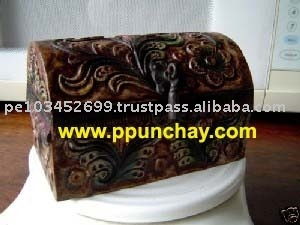 Leather & Wood Jewelry Embossed Box