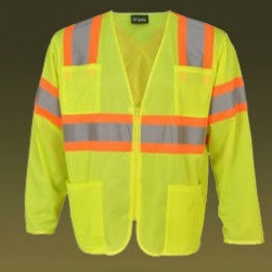 wholesale mesh long sleeves reflective safety vest with pockets