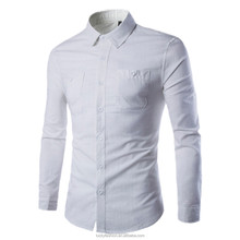Wholesale OEM New Arrival Men's Traditional Fit Long Sleeve Linen Shirt Straight Collar Single Chest Pocket Shirts