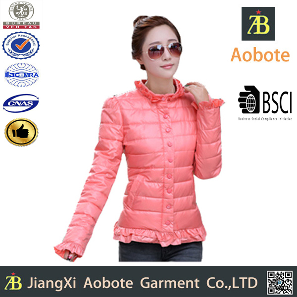 2015 Hot Sell Customized Outdoor Lady Garment Down Jacket With Lace,Winter Coat