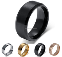 Wholesale fashion jewelry 8mm blank band stainless steel black men's ring