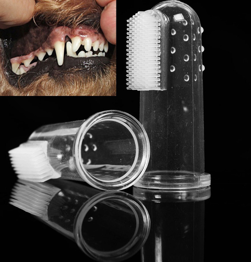 Pet Dog Cat Finger Toothbrush Soft Silicone Brush for Both Small and Large Animals
