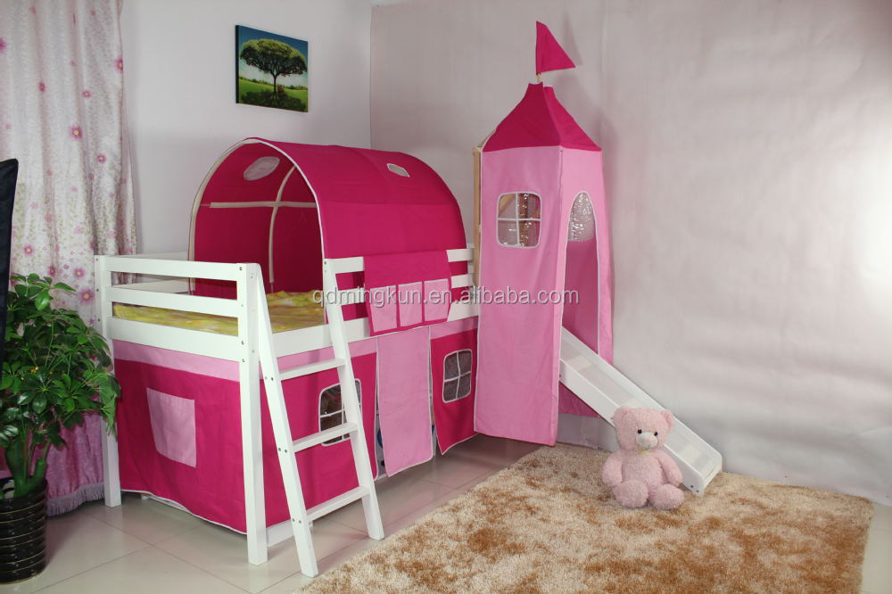 fashion kid's solid pine loft bed with tent set