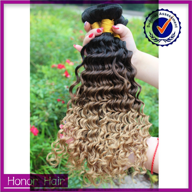 2015 most popular brazilian virgin hair colored two tone hair weave for black women