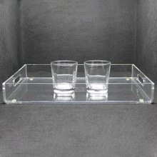 Cafe Coffee Cups Clear Acrylic Tray Insert, Square Acrylic Serving Tray