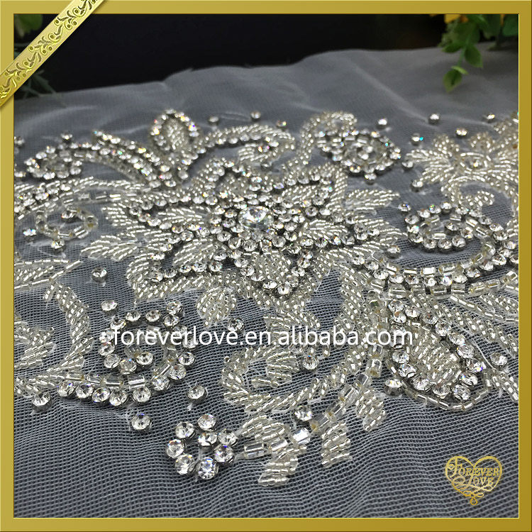 2016 New Arrival Handmade applique work designs for wedding dress FHA012