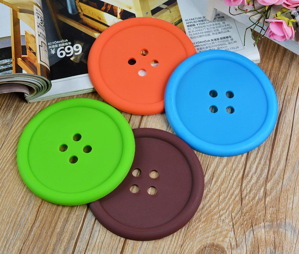 Cute Colorful Silicone Button Coaster Cup Cushion Holder Drink Placemat Mat