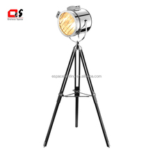 retro American indoor modern chrome or copper industrial tripod shape Iron vintage floor lamp/light