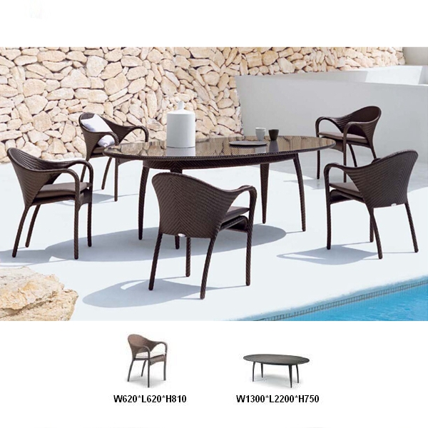 PE Rattan 1 table 5pcs chairs set outdoor garden patio irish pub furniture for sale DCD1005
