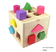 Baby early education toy shape know safety wooden blocks