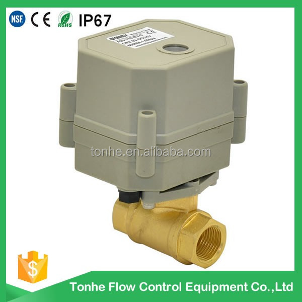 "2 way DN10 3/8""inch brass electric motor control ball valve with ROHS"