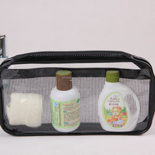 Personalized pvc clear transparent black plastic bone zipper cosmetic travel bag with interior pocket