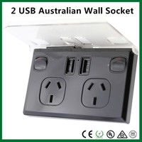 Type Australia AC Power Supply + Dual USB outlets plugs electrical wall Sockets with Switch Control with SAA Rohs
