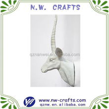 Polyresin white animal antelope head wall decoration hanging gift crafts
