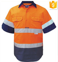 Mens Short Sleeves Two Tone Hi Vis Cotton Twill Work Shirts\/Industrial Workwear