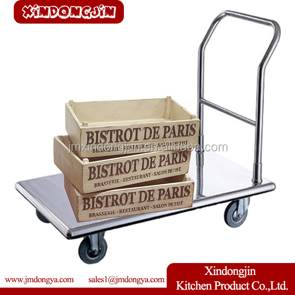 FT-A2 Foldable Restaurant/Hotel/Industrial Stainless Steel Heavy Duty Flat Cart/Hand Push Trolley With Wheels