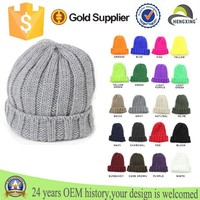 Plain different color neon black rib knitted Hat ear cover beanies Cap
