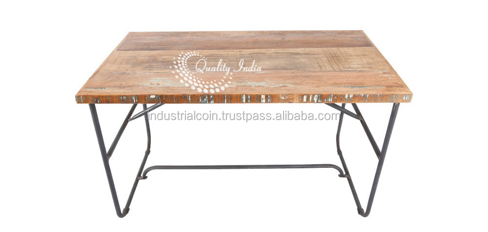 Wooden Top Iron Leg Dining Table