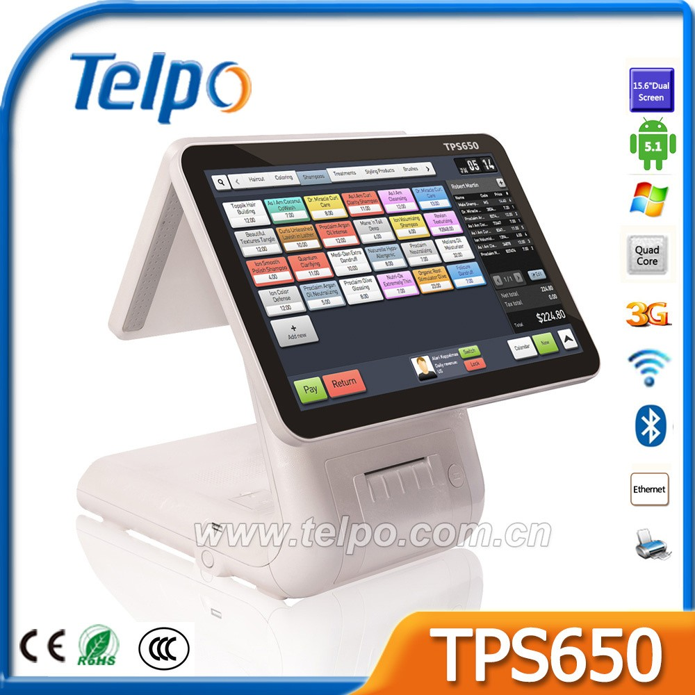Customized Android pos point of sale system with built in printer