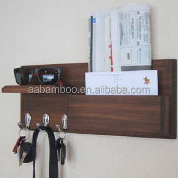 mail holder with key hooks