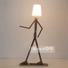 Designer lighting funny human shape flexible wooden floor lamp for hotel