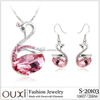 OUXI Hot sale swan shaoed alloy jewelry sets for women S-20103