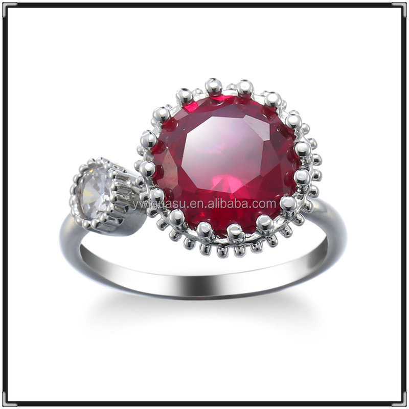 Creative open red corundum big neelam stone ring designs for women value 925 silver ring