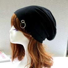 Amazon supplier wholesale custom top quality knit cotton beanie hat with metal ring