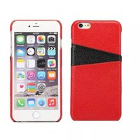 2016 Fashionable Unique Design Litchi Leather Back Cover Case for iphone 6plus with two card slots