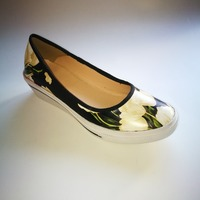 goat pure leather shoes with florals for women