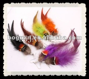 handmade gift grizzly rooster feather earrings